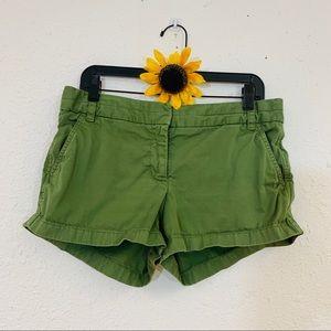 J. Crew Green Chino Short Shorts Size 10